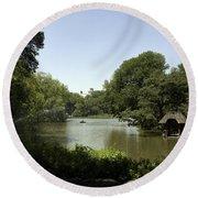 Central Park Pond Round Beach Towel