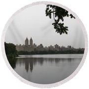 Central Park Reservoir With Reflection Nyc Round Beach Towel