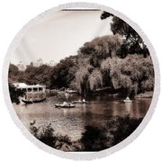 Central Park Rowing - New York City Round Beach Towel