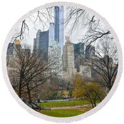 Central Park South Buildings From Central Park Round Beach Towel