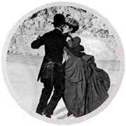 Central Park Victorian Skaters  Round Beach Towel