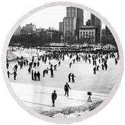 Central Park Winter Carnival Round Beach Towel