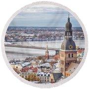 Central Riga Round Beach Towel