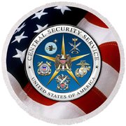 Central Security Service - C S S Emblem Over American Flag Round Beach Towel