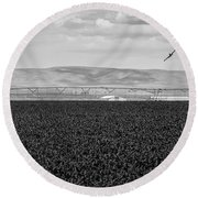 Central Washington, Usa. A Crop Duster Round Beach Towel