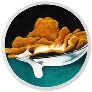 Cereal In Spoon With Milk Round Beach Towel by Janice Dunbar