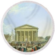Ceremony Of Laying The First Stone Of The New Church Of St. Genevieve In 1763, 1764 Oil On Canvas Round Beach Towel