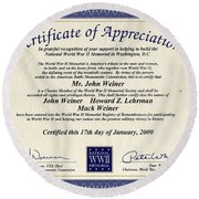 Certificate Of Appreciation Round Beach Towel