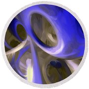 Cerulean Abstract Round Beach Towel