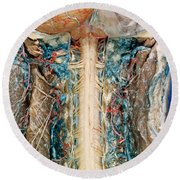 Cervical Spinal Cord, Posterior View Round Beach Towel