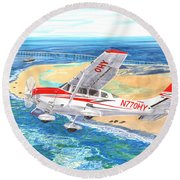 Cessna 206 Flying Over The Outer Banks Round Beach Towel