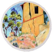 Cezanne's House With Cracked Walls Round Beach Towel