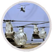 Ch-46e Sea Knight Helicopters Take Round Beach Towel