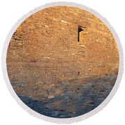 Chaco Canyon Indian Ruins, Sunset, New Round Beach Towel