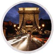 Chain Bridge Budapest  Round Beach Towel