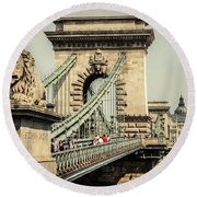 Chain Bridge Crossing The Danube River Round Beach Towel