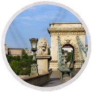 Chain Bridge In Budapest Round Beach Towel