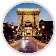 Chain Bridge In Budapest At Night Round Beach Towel