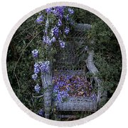 Chair And Flowers Round Beach Towel