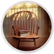 Chair And Lace Shadows Round Beach Towel