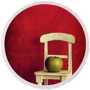 Chair Apple Red Still Life Round Beach Towel