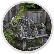 Chair In The Garden Round Beach Towel