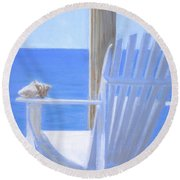 Chair View With Shell Round Beach Towel