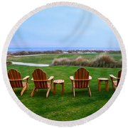 Chairs At The Eighteenth Hole Round Beach Towel