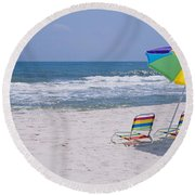 Chairs On The Beach, Gulf Of Mexico Round Beach Towel
