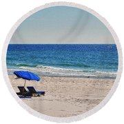 Chairs On The Beach With Umbrella Round Beach Towel