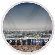 Chairs Watching The Sunset Round Beach Towel