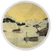 Chalets In Snow Round Beach Towel by Giovanni Segantini