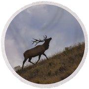 Challenge Of The Bull Elk Round Beach Towel