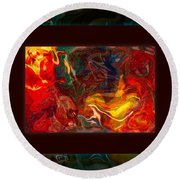 Challenges And Moments In Time Abstract Healing Art Round Beach Towel