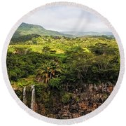 Chamarel Waterfall. Mauritius Round Beach Towel