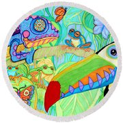 Chameleon And Toucan Round Beach Towel