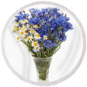 White Camomile And Blue Cornflower In Glass Vase  Round Beach Towel