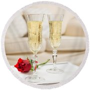 Champagne And Rose Round Beach Towel