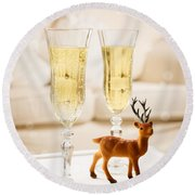 Champagne At Christmas Round Beach Towel