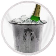 Champagne Bottle On Ice Round Beach Towel
