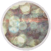 Champagne Bubbles And Sunset Round Beach Towel