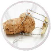 Champagne Cork Stopper Round Beach Towel