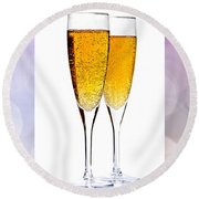 Champagne In Glasses Round Beach Towel by Elena Elisseeva
