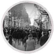 Champs Elysees Black N White Round Beach Towel