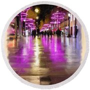 Champs Elysees In Pink Round Beach Towel
