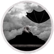 Chance Of Rain   Broken Umbrella Round Beach Towel