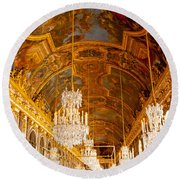 Chandeliers And Ceiling Of Versailles Round Beach Towel