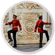 Change Of Guards Ceremony Dolmabahce Istanbul Turkey Round Beach Towel