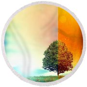 Change Of The Seasons - The Moment When Summer Meets With Fall Round Beach Towel