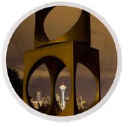Changing Form Of Seattle Round Beach Towel